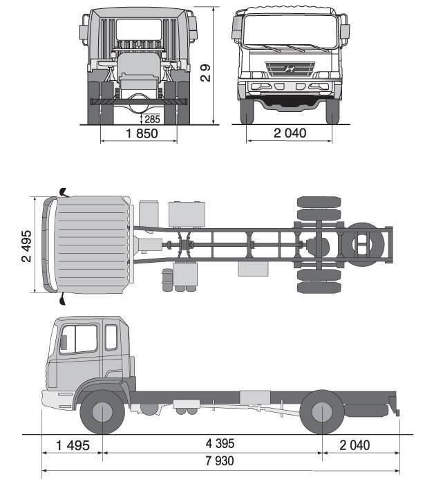 Габаритные размеры грузовика Hyundai HD 170