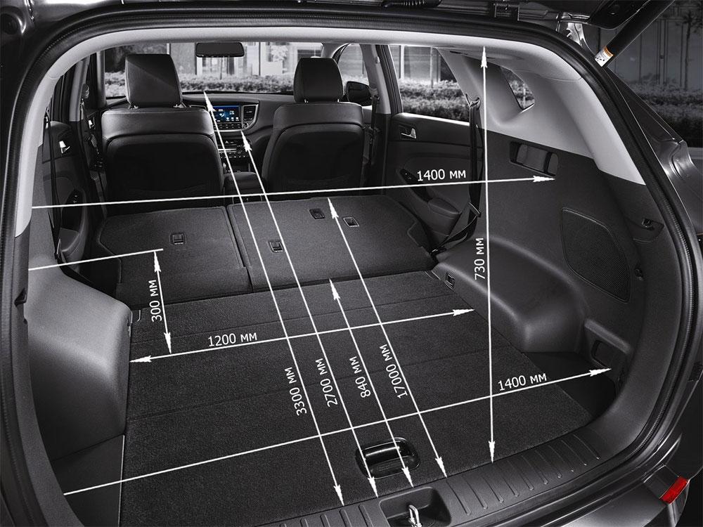 Размеры и объем багажника Hyundai Tucson