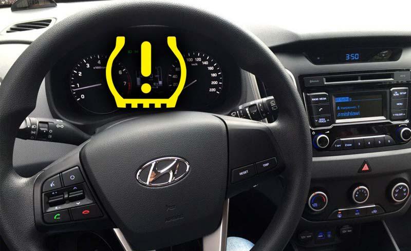 Давление в шинах на Hyundai Creta – как убрать ошибку датчиков и TPMS